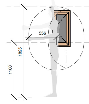 Human reach determines window size and type.