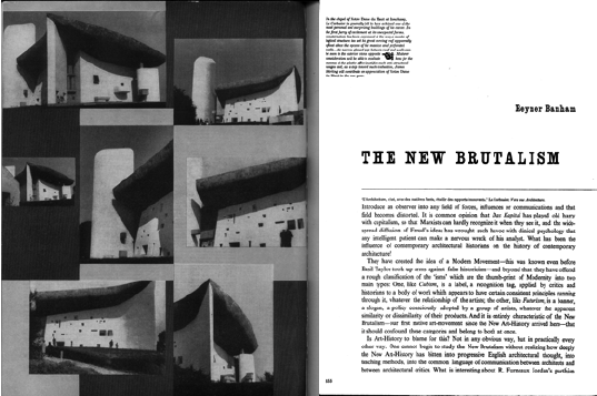 "Reyner Banham, ""The New Brutalism,"" Architectural Record, September 1955."